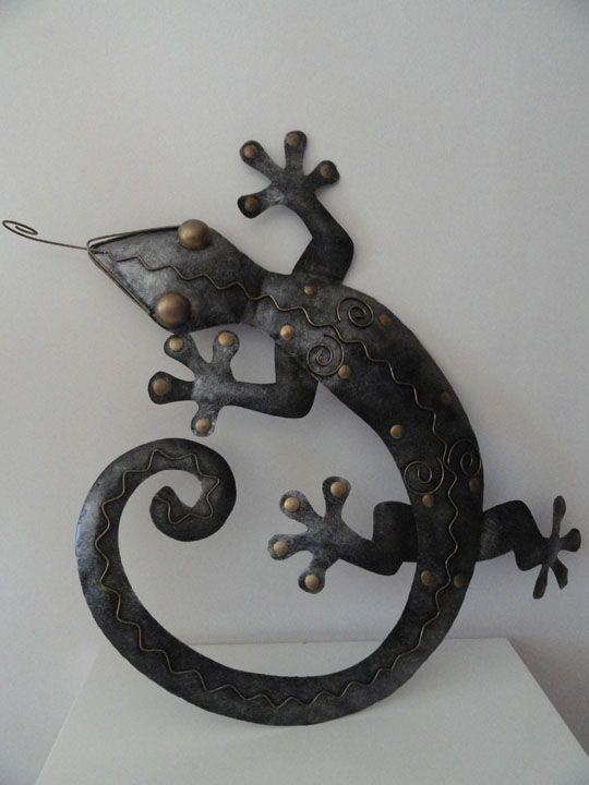 gecko mural en fer forg couleur acier fer forg shop makasih deco acier fer. Black Bedroom Furniture Sets. Home Design Ideas