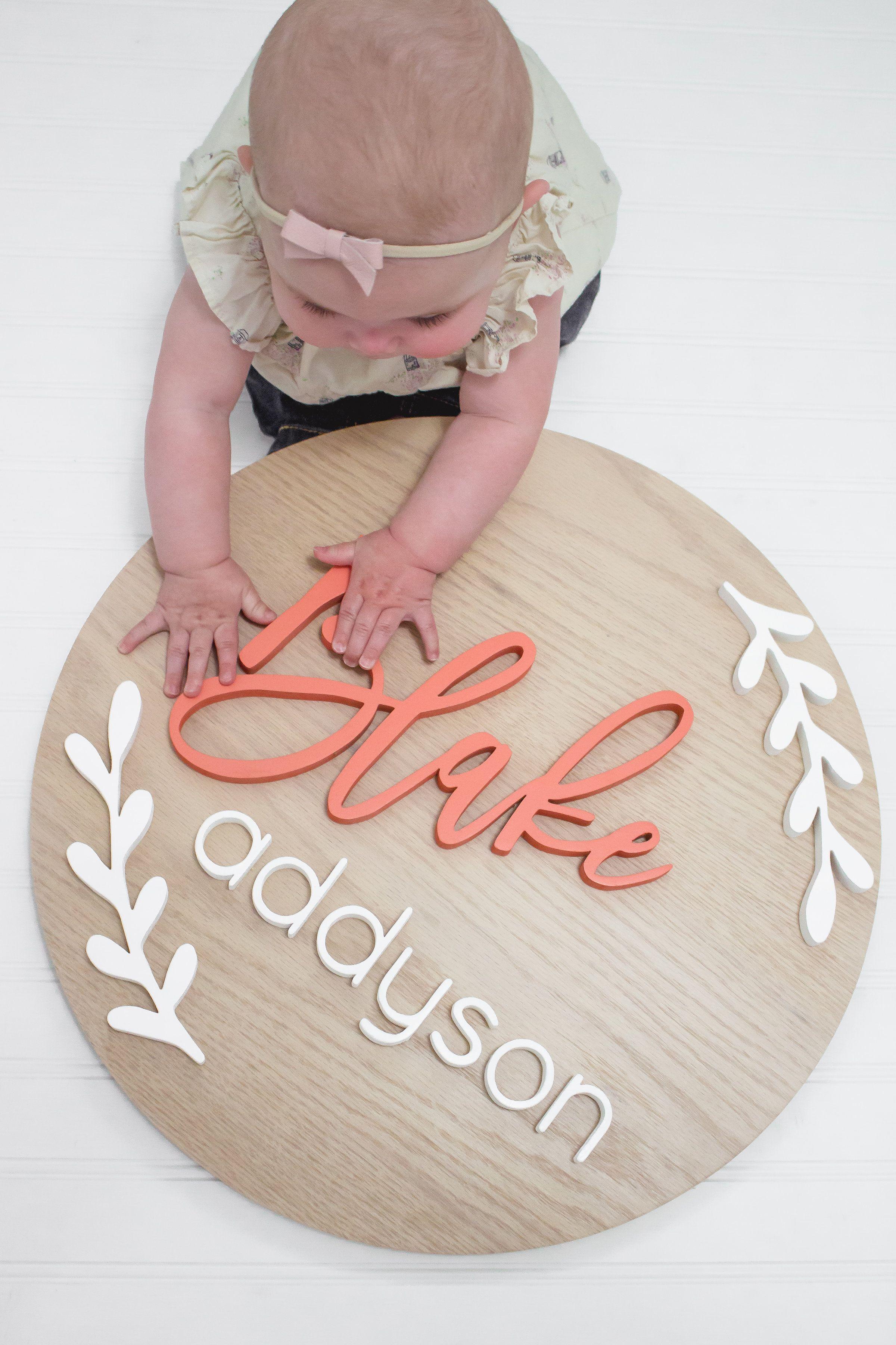 Medium Nursery Name Sign With Laurel