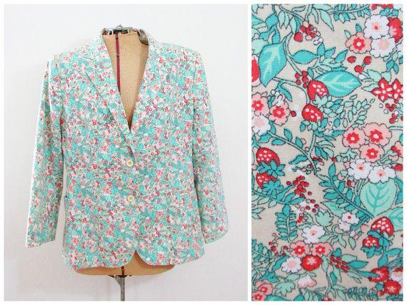Vintage Jacket Berries & Flowers by FairSails on Etsy, $30.00 #cute #vintagestyle