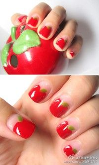 Cute apple nail design- so my sister's or grandma's style....teachers!