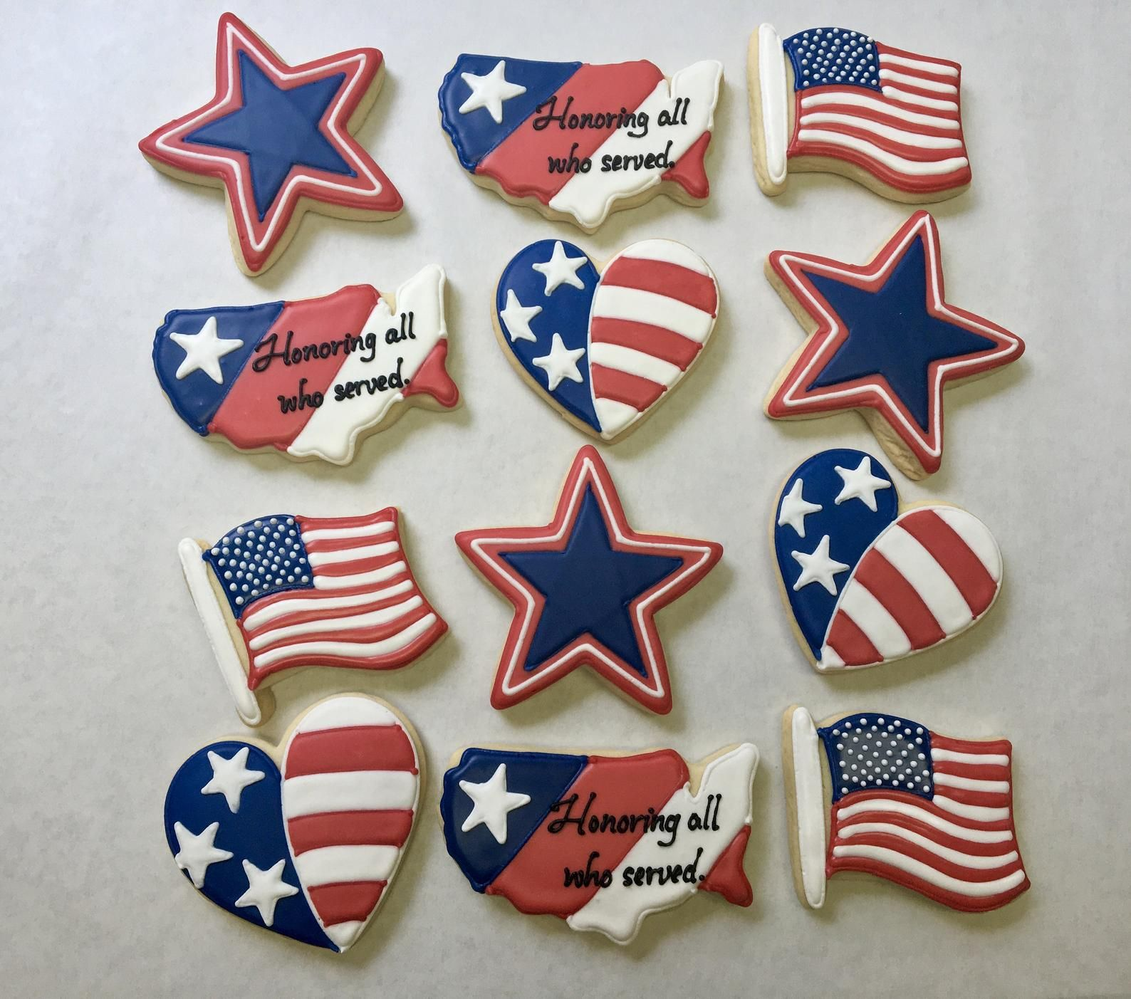 Veterans Day Cookies, Great Veterans Day Party Favors, Patriotic Cookies, American Flag Cookies, Memorial Day Theme Party Favors