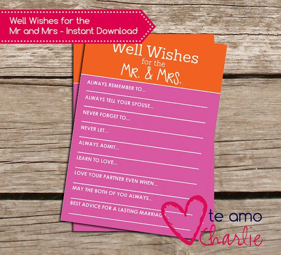 Well Wishes For The Mr And Mrs Bridal Shower Game