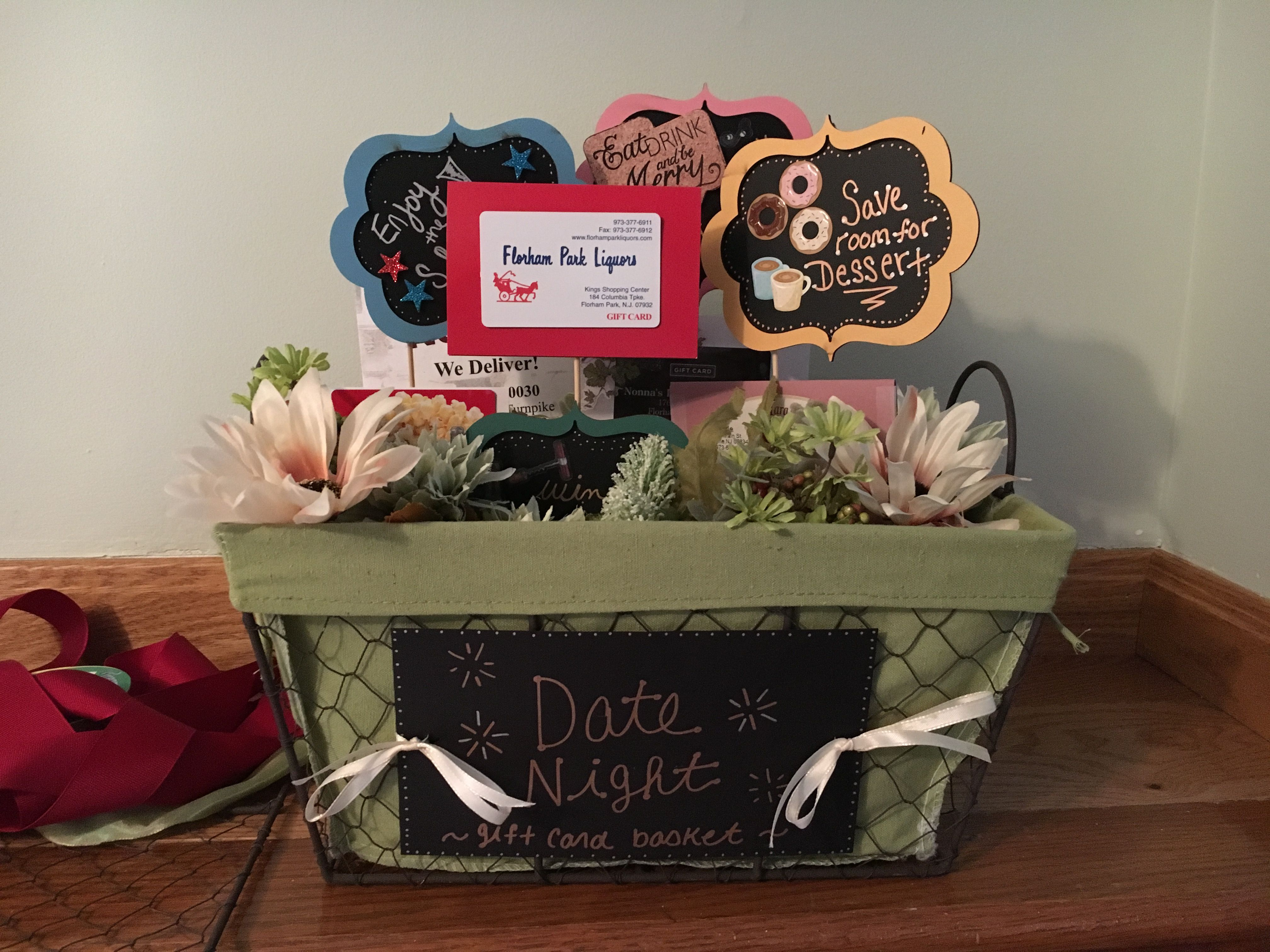 Tricky tray basket. Cute idea for a date night with dinner, movie ...