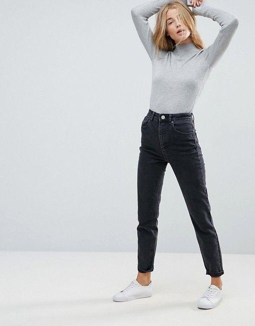 67fdd80ed4 ASOS DESIGN | ASOS DESIGN Farleigh high waist slim mom jeans in washed black