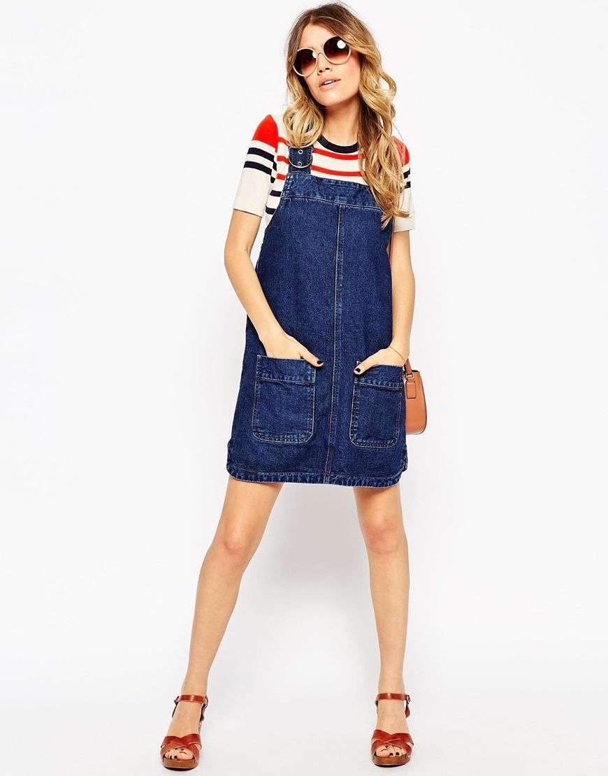 a873137d1064c Denim Pinafore Dress With Patch Pockets In Rich Blue | Fashion ...