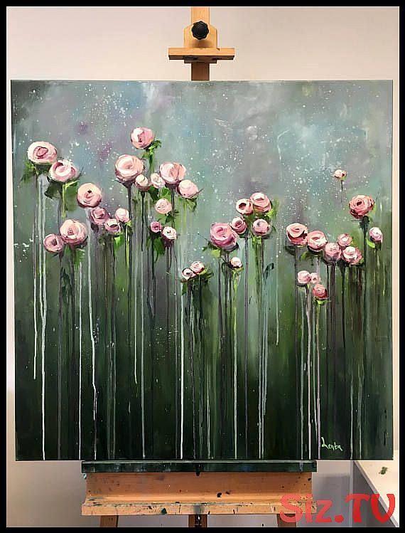 Blumen Kunst Arbeit, große Öl Gemälde Malerei, Leinwand, Original, Handbemalen, Geschenk, Wandkunst, Kunst, Ölgemälde-#Arbeit