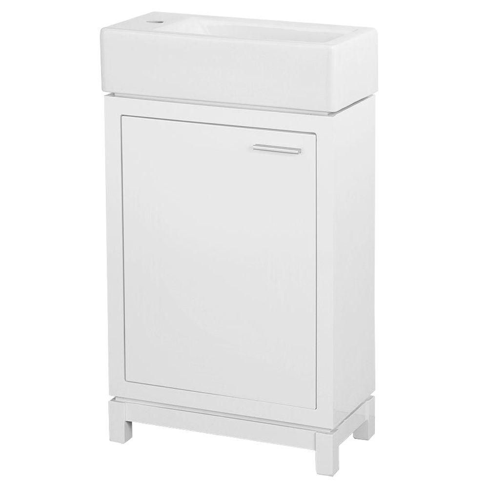 Kole 19 1 2 Inch W Vanity In White Finish Fireclay Sink