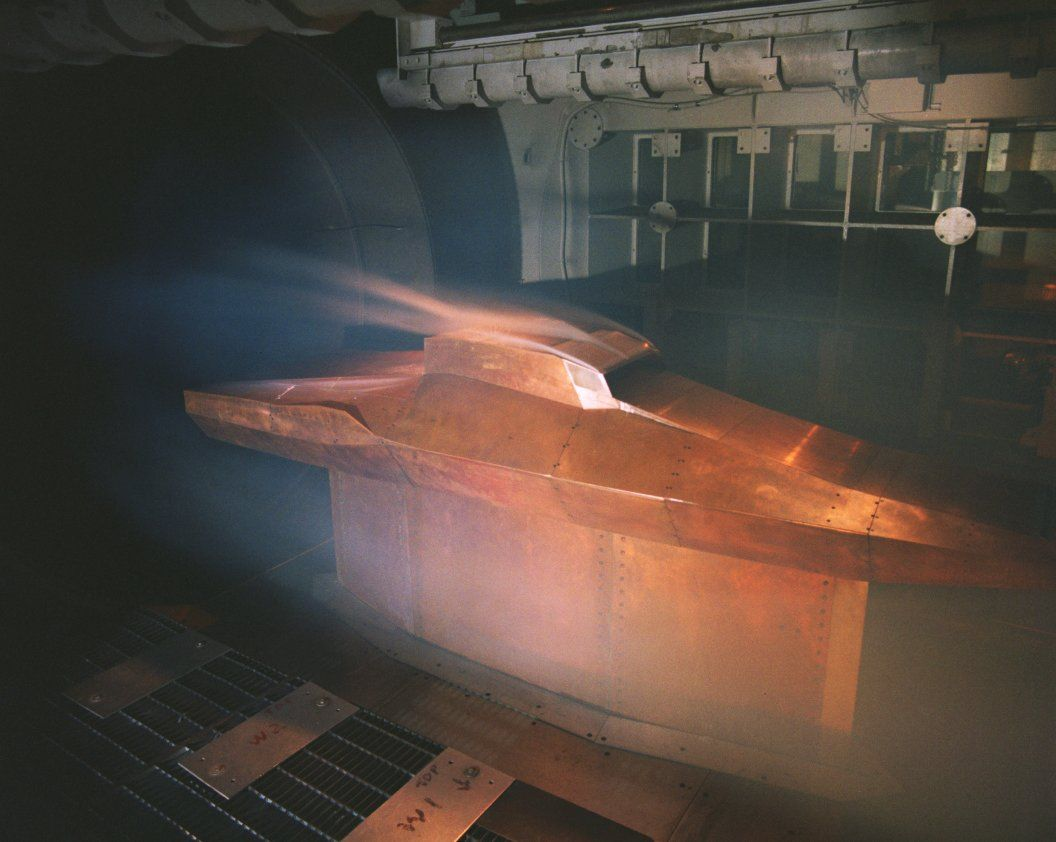 Full scale model of the X-43 plane in Langley's 8 foot, high temperature wind tunnel