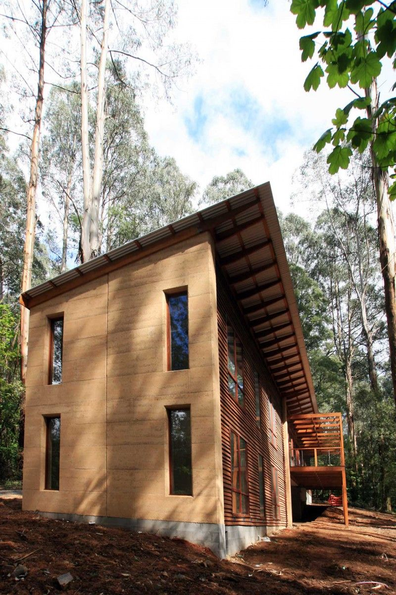 Simple 2 story rammed earth home  Rammed Earth Homes  Building Info in 2019  Rammed