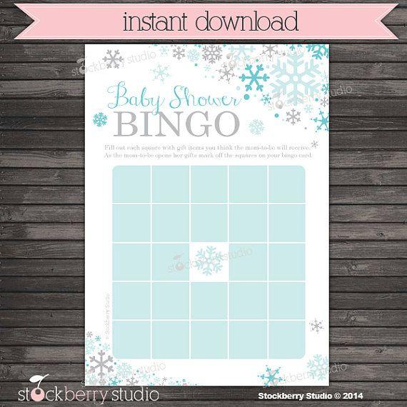Winter Baby Shower Bingo Game Printable  by stockberrystudio