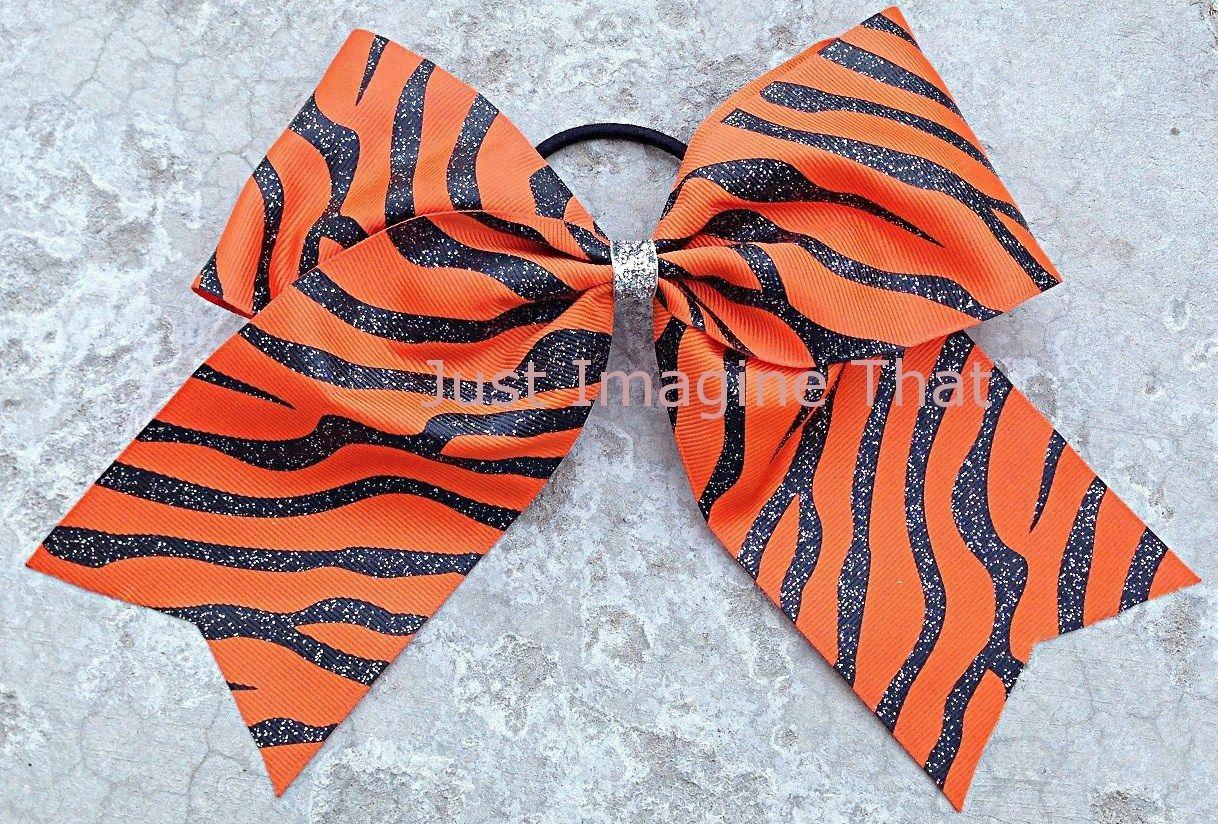 "3"" Width Cheer Bow 7""x6.5"" Texas Size Cheer Bow Orange w Black Glitter Zebra"