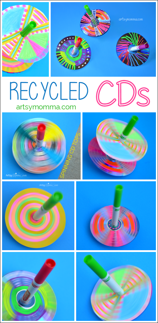How To Make Simple Recycled Cd Spinning Tops Bloggers Fun Family