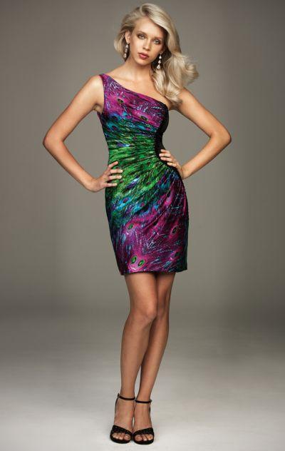 One shoulder purple print evening dress
