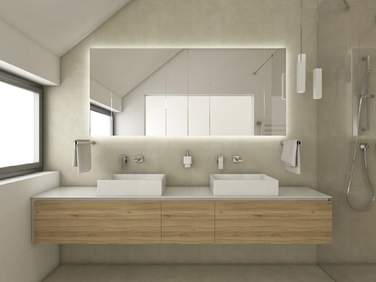 Bagni piccoli e un idea di arredamento con mobile di legno sospeso