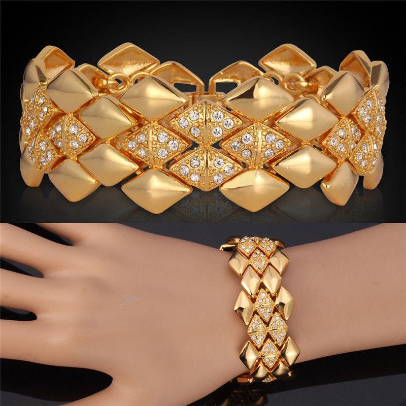 Bracelets & Bangles Women Men Jewelry Big Fashion Rhinestone ...