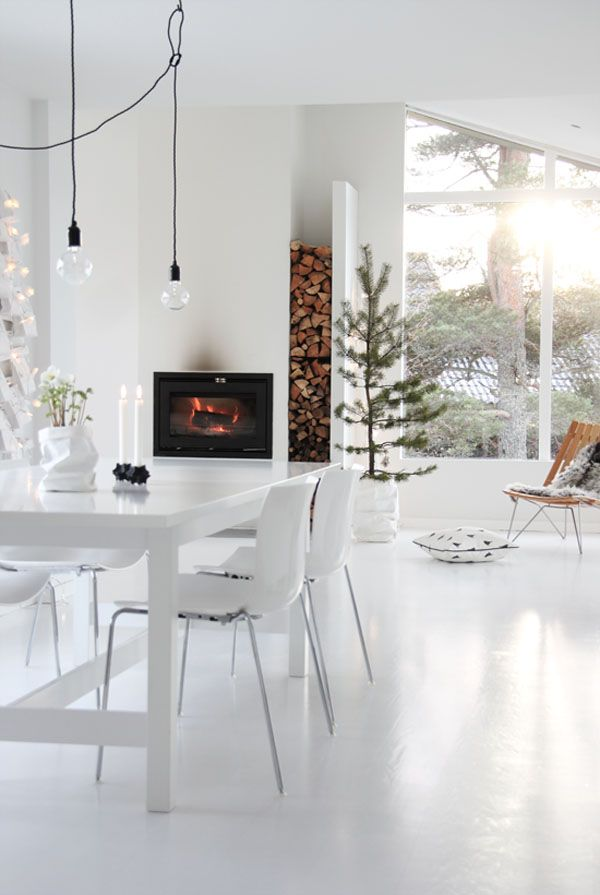 High Fire | Fireplace | Dining room | Interiors | Kitchen | Decor | Nordic | Inspiratie - haard in een witte keuken