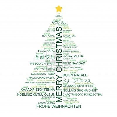 merry christmas in different languages or Photo of Tree of - christmas card word