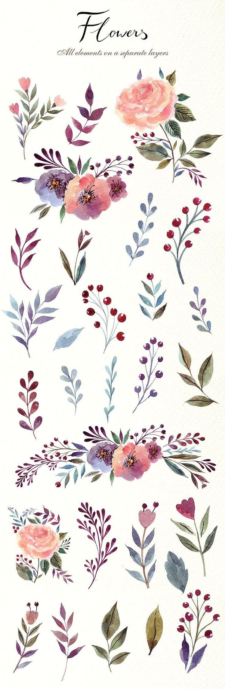 230 Watercolor graphic elements