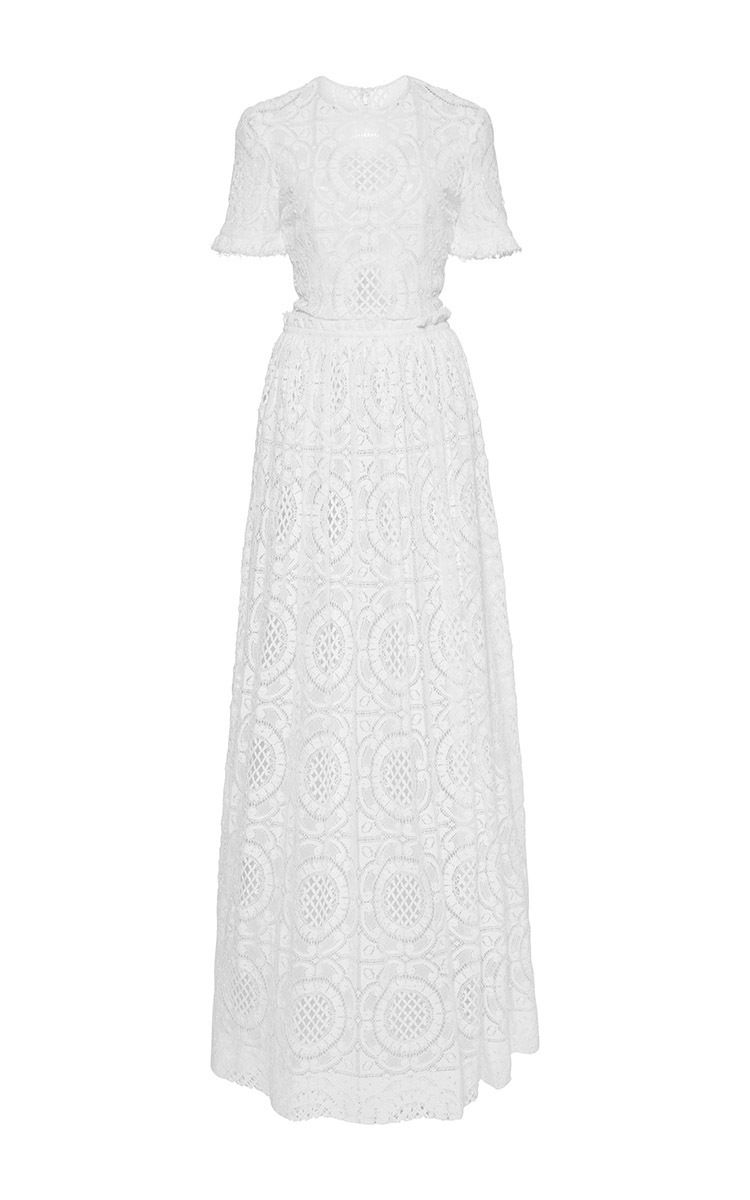 Short Sleeve Cotton Lace Gown by COSTARELLOS for Preorder on Moda Operandi