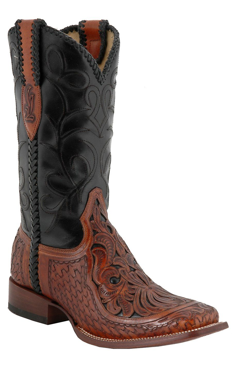cf247124abb Corral® Men's Brown Chedron Black Willow Tooled Square Toe Western ...