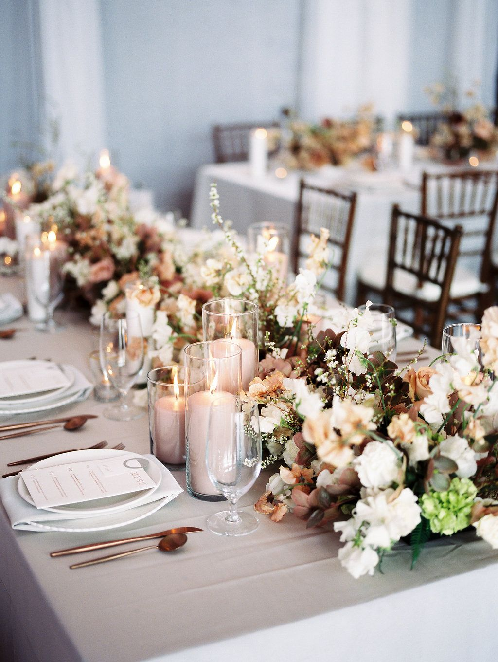 An Indoor Modern Spring Wedding In A Delicate Soft Colour Palette Omaha Real Weddings Wedding Venues Indoor Modern Wedding Decor Wedding Table Pink
