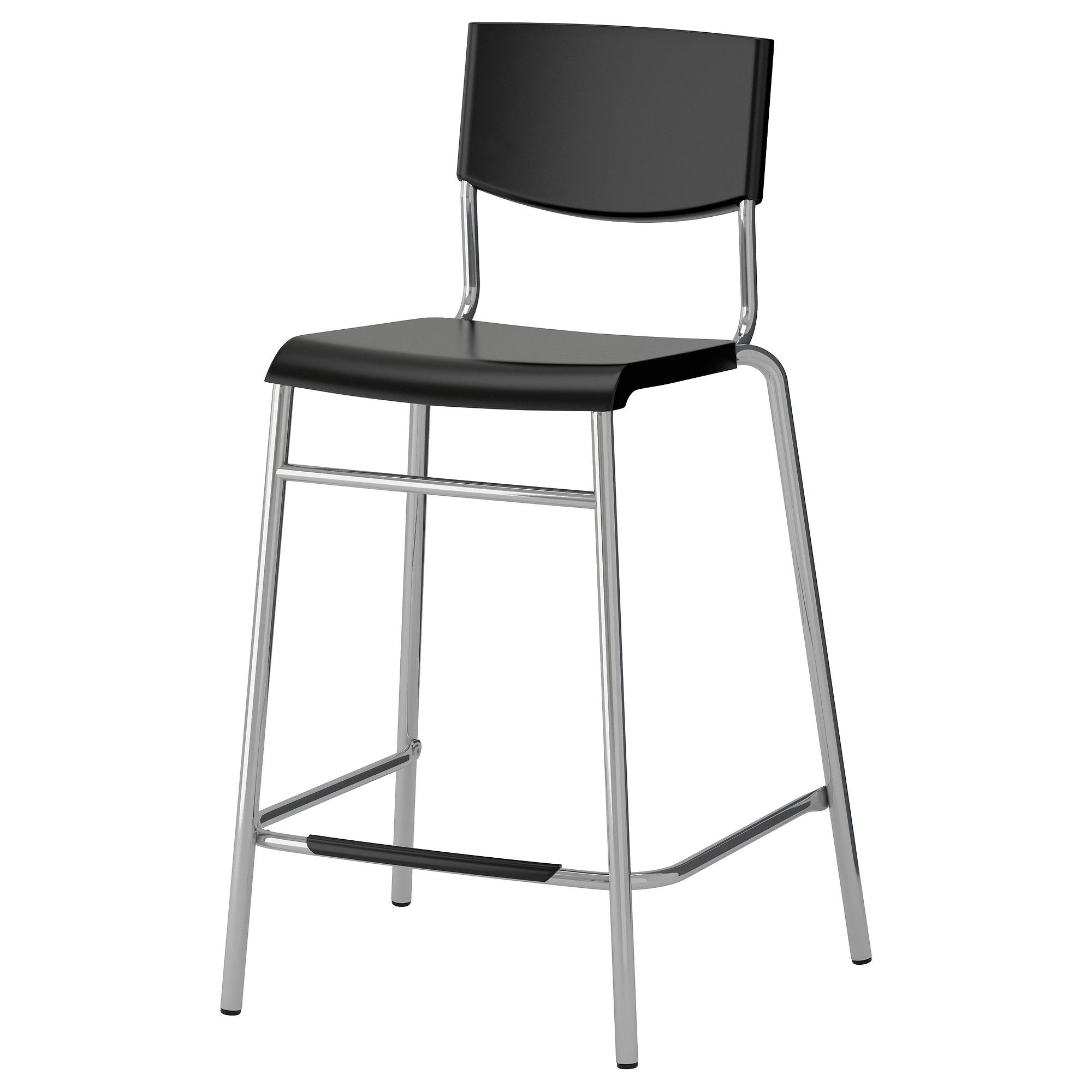 Surprising Ikea Stig Black Silver Color Bar Stool With Backrest New Gmtry Best Dining Table And Chair Ideas Images Gmtryco
