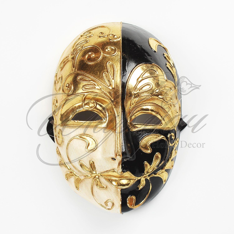 Венецианская маска золотисто-черная «инь-янь» | Маски ... - photo#36