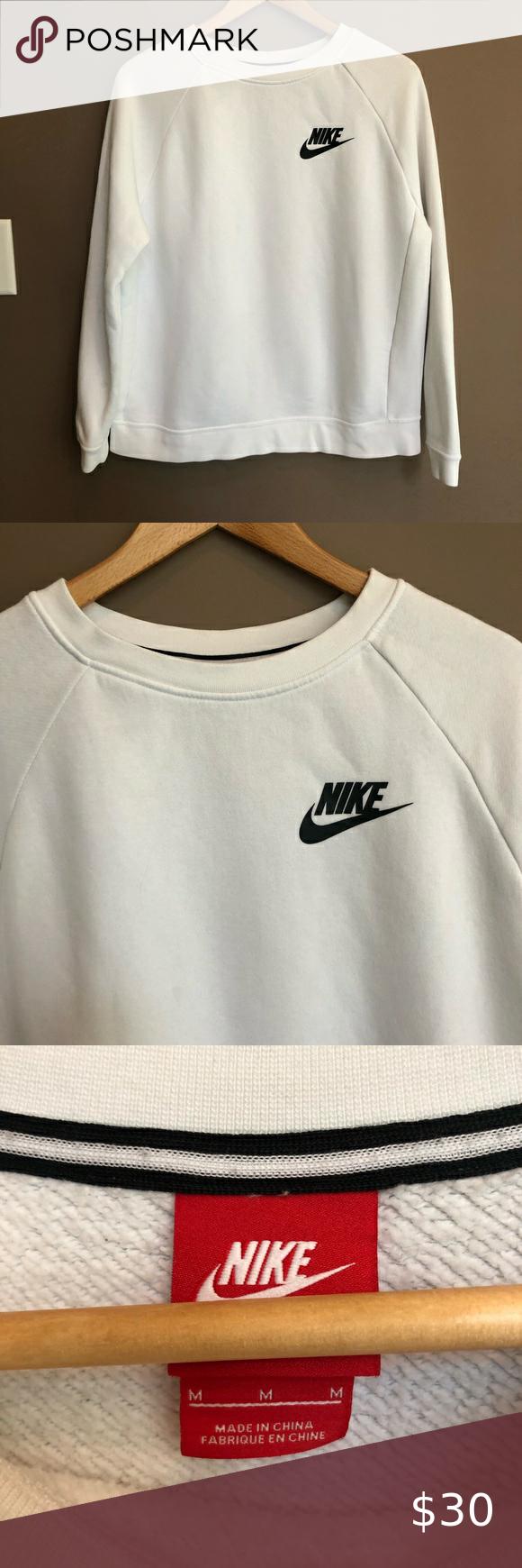 Nike Crew Neck Pull Over Sweatshirt White Medium Sweatshirts White Sweatshirt Sweatshirt Shirt [ 1740 x 580 Pixel ]