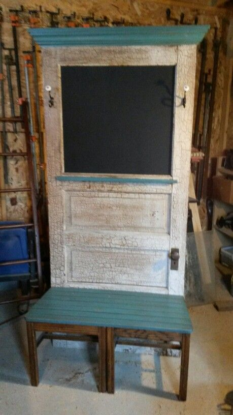 Repurposed Old Door Into A Hall Tree With A Chalkboard