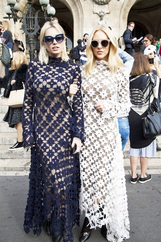 Le Fashion Blog Street Style Pfw Shea Marie Caroline Vreeland Crochet Maxi Dresses Statement Sunglasses Leather Shoes Via The Outfit