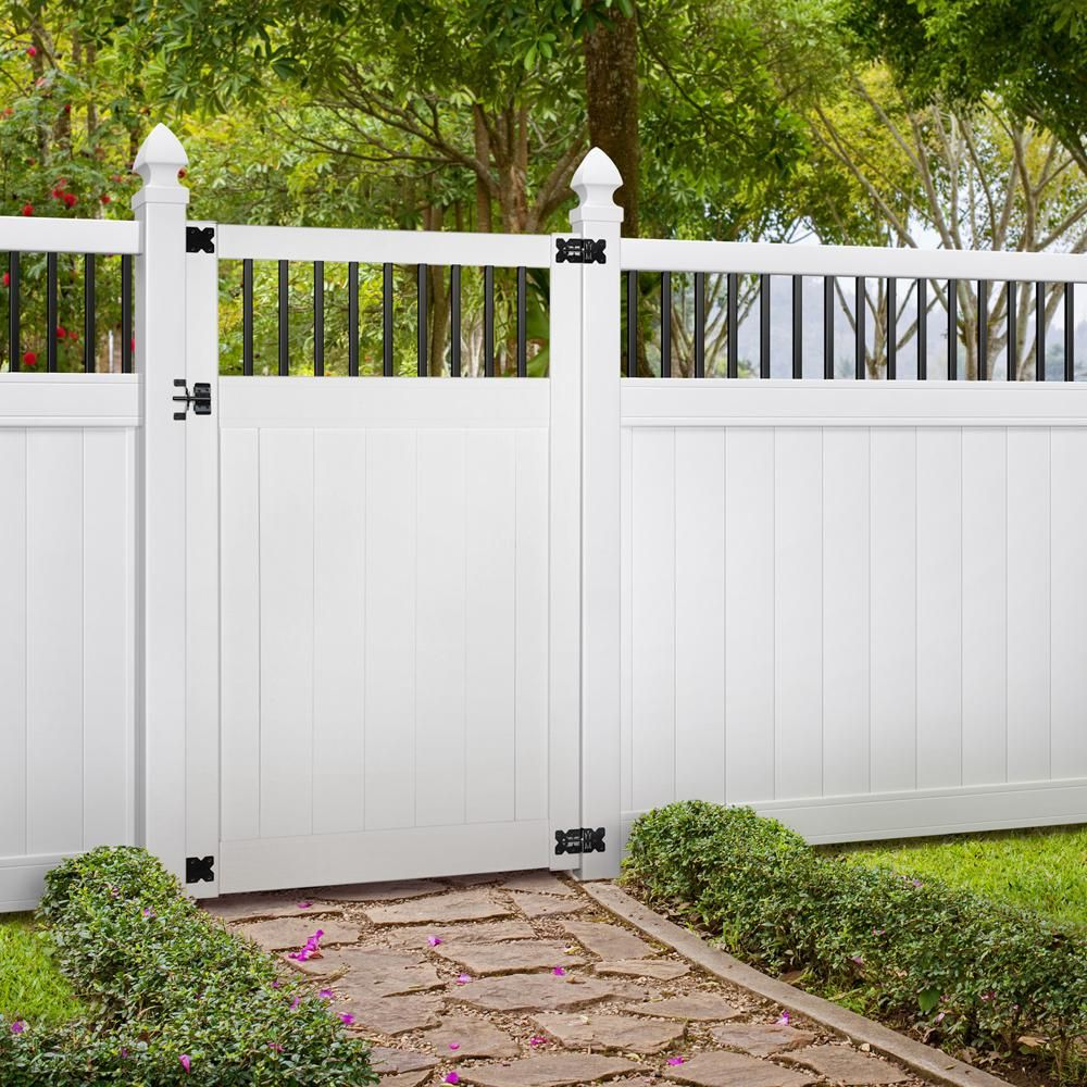 Veranda Pro Series 4 Ft W X 6 Ft H White Vinyl Woodbridge Baluster Top Privacy Fence Gate 258803 The Home Depot Backyard Fence Decor Vinyl Fence Panels Garden Gate Design