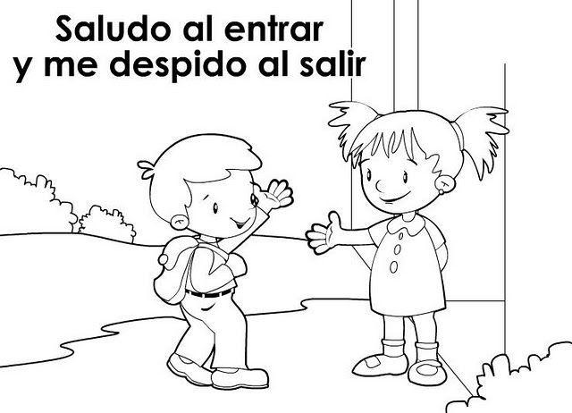 Dibujos Para Colorear Respeto Imagui Valores Eca Modales Niños