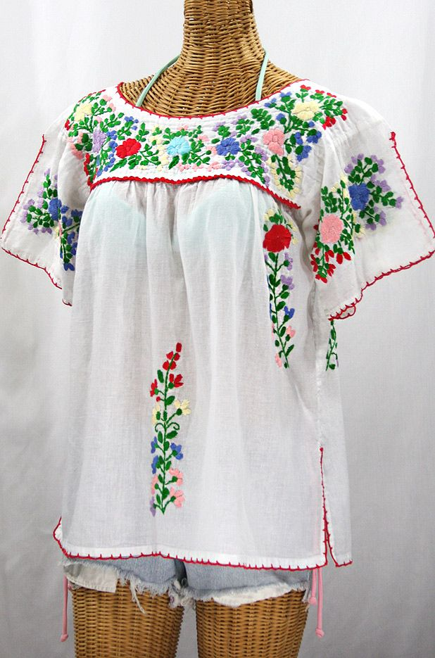 13c025933b1 Peasant Blouse · Peasant Tops · Siren s White with Multi-colored Embroidery