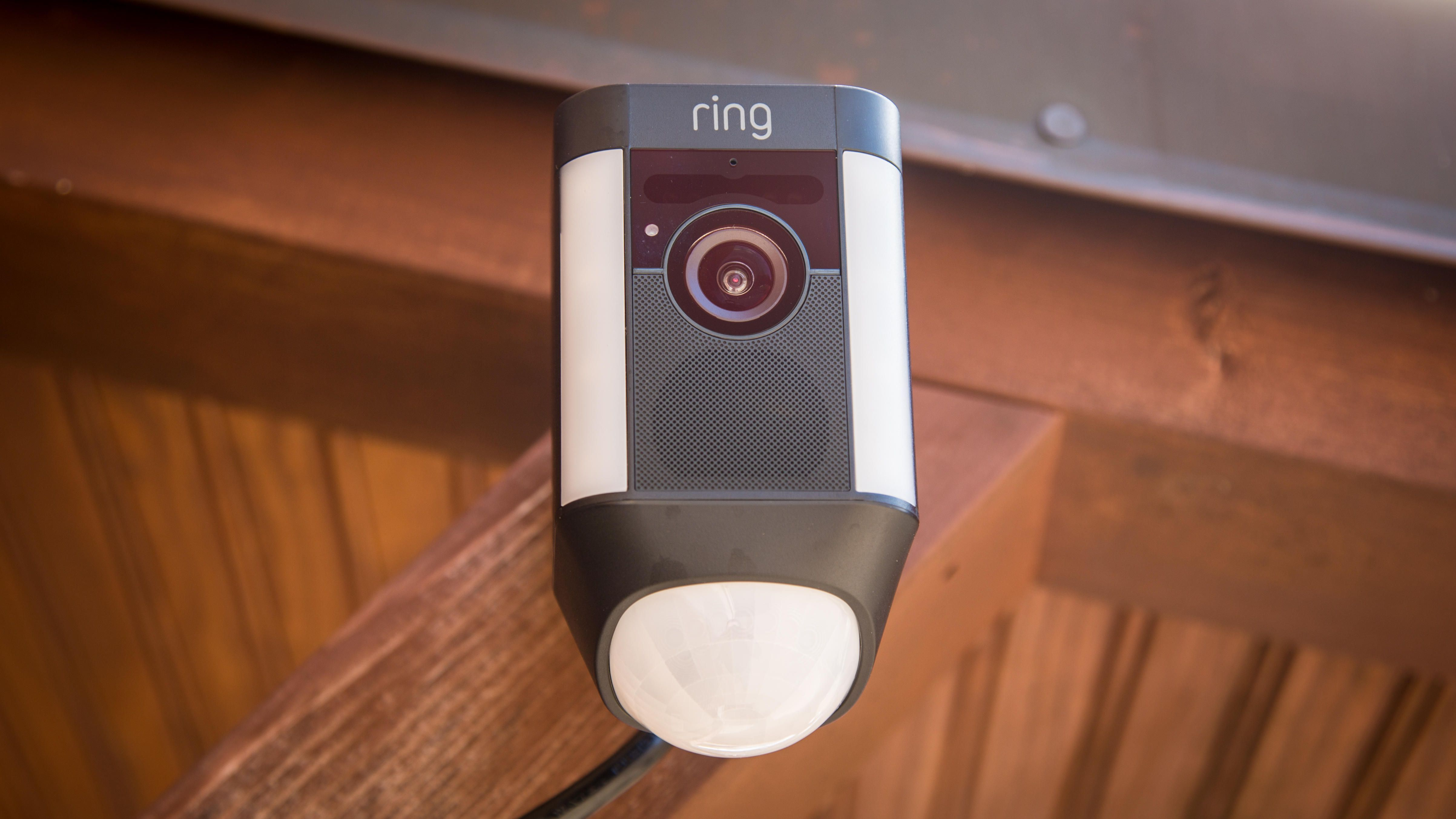 Spotlight Cam Is Ring S Latest Outdoor Camera That Comes In Wired Mount Battery Powered And Solar Powered Versions Al Outdoor Camera Wall Outlets Spotlight