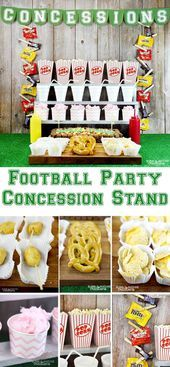 Football Party Concession Stand! Such a fun idea for a super bowl party with fre…
