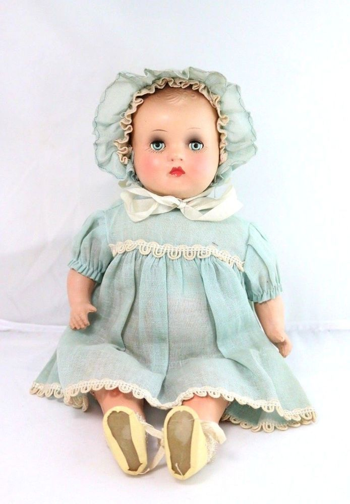 Antique Composition Baby Doll W Extra Clothes Blue Eyes Antique