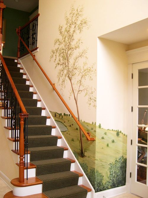 Mural custom painted on a staircase wall | Staircase Murals ...