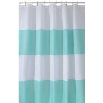 Amazon Com Interdesign Zeno Waterproof 72 Inch By 72 Inch Shower Curtain Blue White Home Kitchen Kids Bathroom Striped Shower Curtains Curtains Fabr
