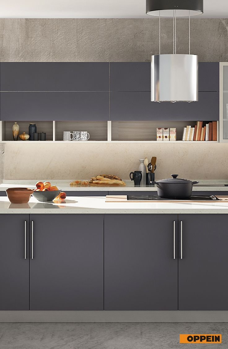 360cm Width Standard Kitchen Cabinet With Gray Melamine Finish