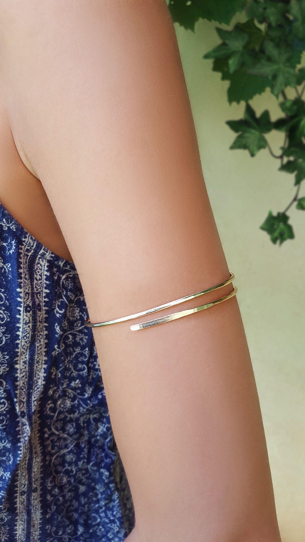 Handmade Aluminum Wire Wrapped Leaf Cuff Bracelet Open Gold Tone