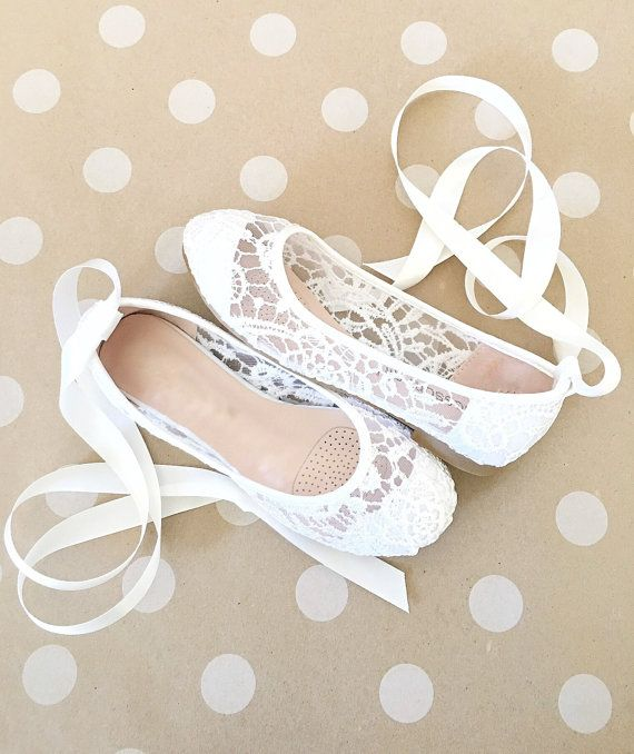 d734fd412953 White Crochet GIRLS SHOES -Flower Girl Shoes - Lace up Ballet Flats ...