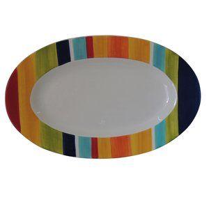 Mainstays Striped Serving Platter, Ceramic