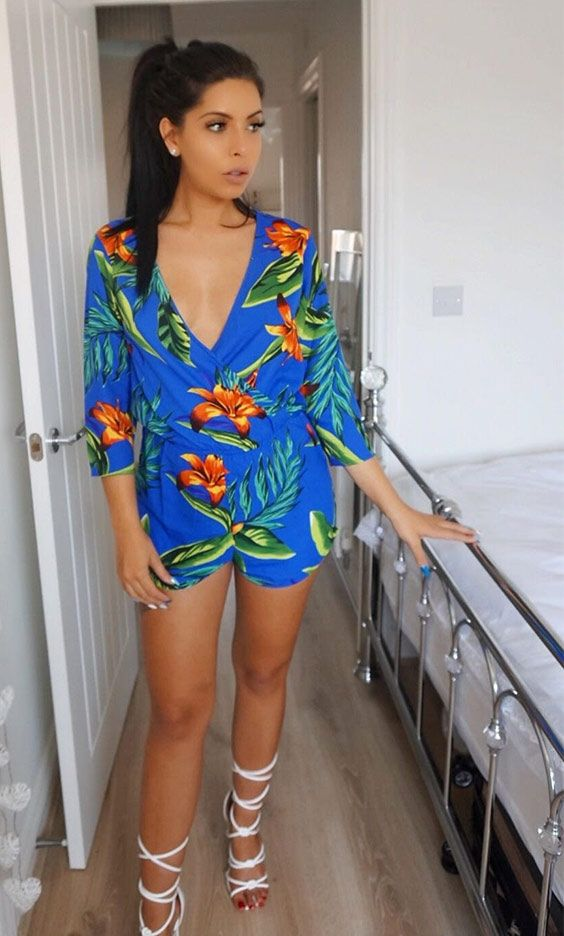 b2f43e8c3b Love Island's Cara Delahoyde looking gorgeous in the SilkFred 'Tiago  Playsuit' .....celebrity, spotted, summer, floral, wedding, inspo, casual,  beach, ...