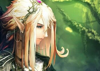 Anime Elf With Long Blonde Hair And Blue Eyes In Forest Anime