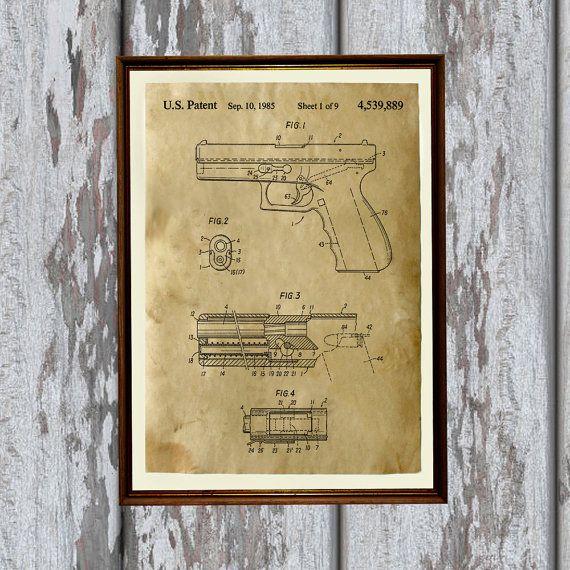 Handgun poster printed over hand-antiqued paper. Pistol patent print ...