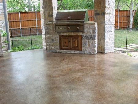 Patio concrete stain Outdoor kitchens and pools Pinterest