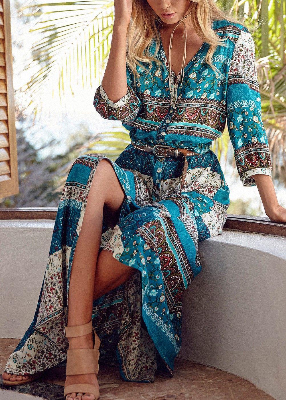 Pretty chiffon bohemia floral sleeve v neck maxi dress in