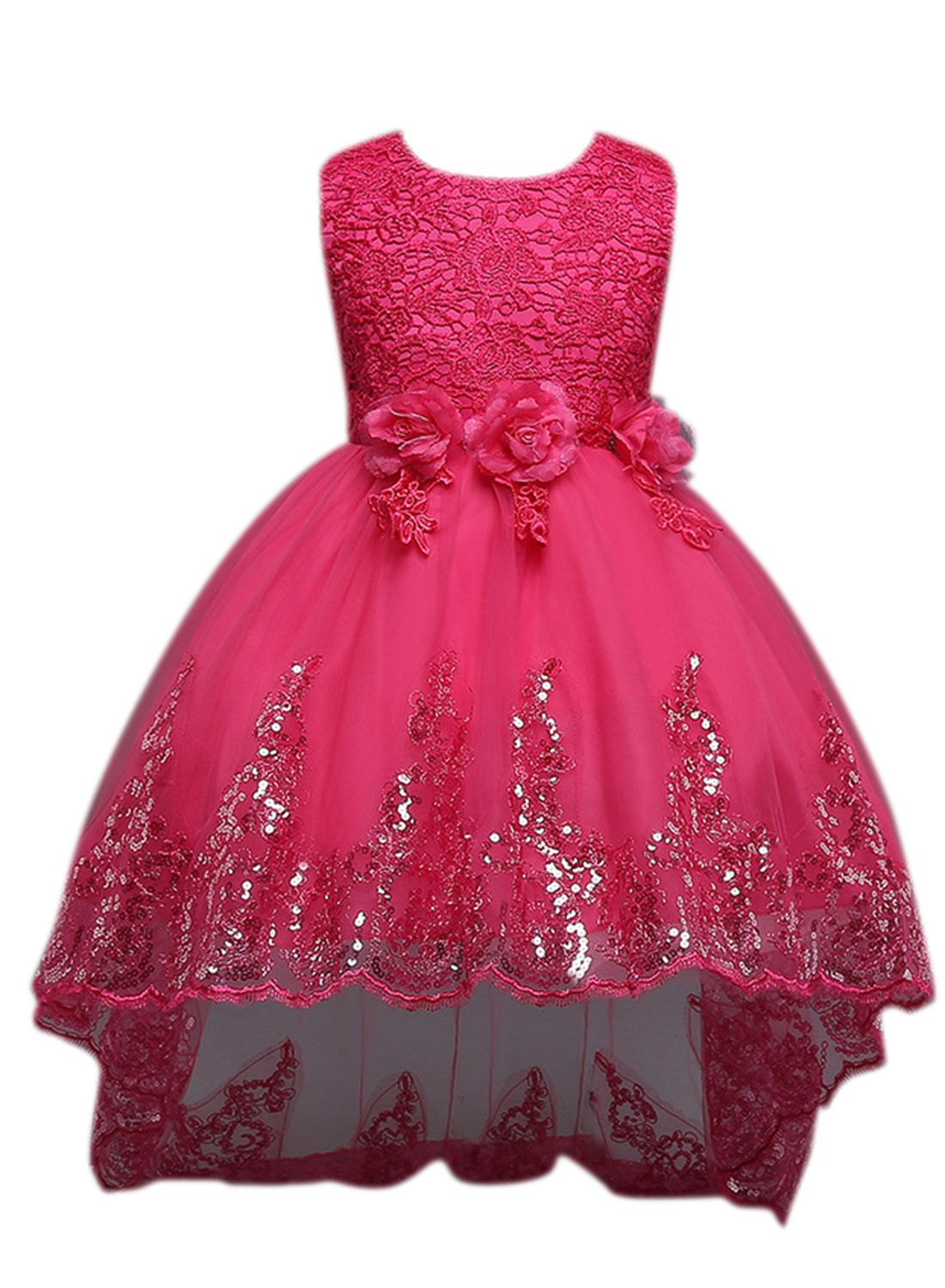 Beautiful polyester sleeveless floral sequin girls prom dress