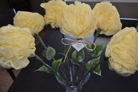 Flowers For Bridal Shower Favors : The original bath puff flower bridal shower favor with tag