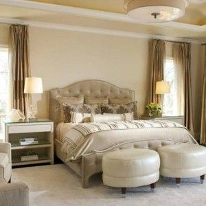 Calming Colors For Bedrooms With Champagne Curtains And Round Flush ...